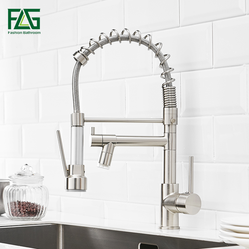 FLG LED Kitchen Faucet Brushed Nickel Pull Down Kitchen Taps D  Handle 360 Degree Rotating Cold Hot Water Mixer Sink TapFLG LED Kitchen Faucet Brushed Nickel Pull Down Kitchen Taps D  Handle 360 Degree Rotating Cold Hot Water Mixer Sink Tap