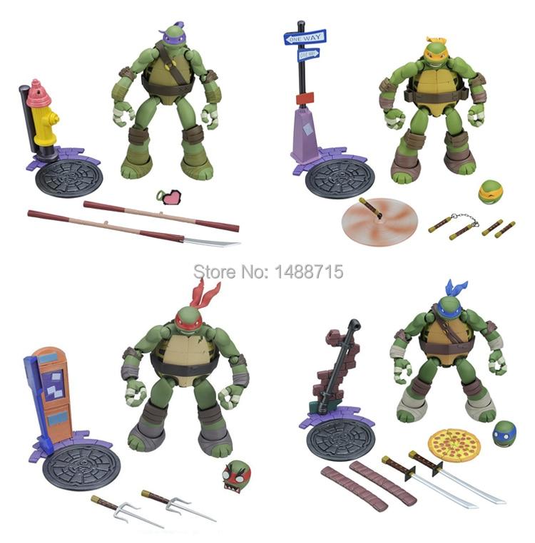Hot 4pcs Classic <font><b>Anime</b></font> Movie Teenage Mutant <font><b>Ninja</b></font> <font><b>Turtles</b></font> TMNT Leo <font><b>Raphael</b></font> Mikey Donatello 14CM <font><b>Action</b></font> <font><b>Figure</b></font> Toys New Box