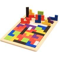 Wooden Tetris Tangram Brain Teaser Puzzle Toys Children Kids Wood Jigsaw Board Educational Toy