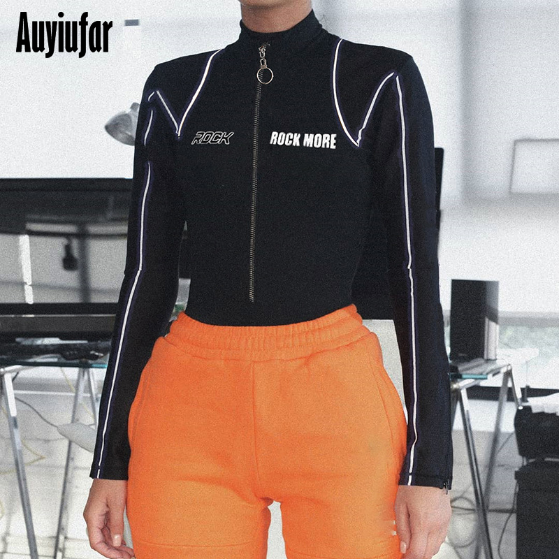 Auyiufar Women Skinny Bodysuit Long Sleeve with Letter Print Playsuits Zipper Reflective Striped Sporty Rompers Female Overalls in Bodysuits from Women 39 s Clothing