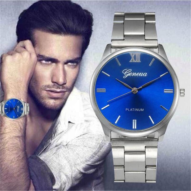Men's Watches Fashion Men Crystal Stainless Steel Analog Quartz Wrist Watch relogio masculino relojes hombre 2018 все цены