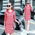Outono inverno 2016 outono novo preto rosa vermelho marrom mulheres 2 peças define hoodies envoltório saias ternos femininos Além de grande tamanho XXXL B0261