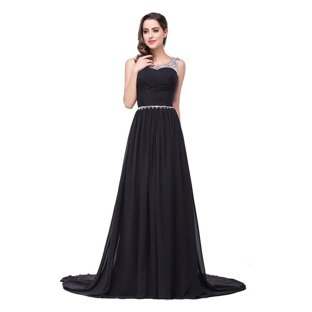 In stock Robe De Soiree Flowing Chiffon Long Evening Dresses Elegant 2017  Tulle Neck Crystals Beaded Prom Party Dresses 874485b0b5bf