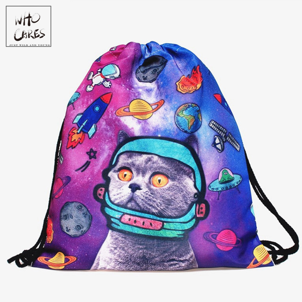 New Zohra Space Cats 3D printing Backpack Women drawstring bag mochila feminina Environmental Travel  sport Gym bags  backpacks