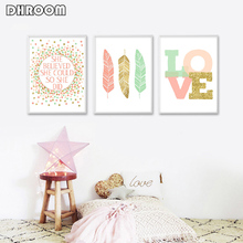 Nursery Wall Art Canvas Poster Painting She Believed Could So Did Quote Gold Print Kids Decoration Picture Bedroom Decor