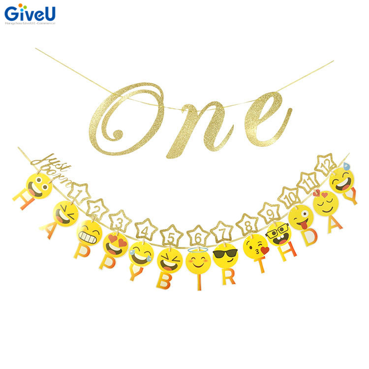GiveU New Products One Banner 1st Happy Birthday Emoji Baby Party Decorations Kids First Decoration