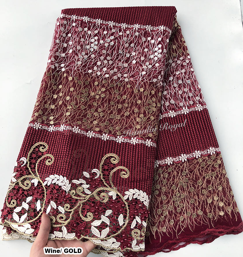 Wine Gold African Guipure lace bordered french lace Original Nigerian tulle fabric beautiful high quality 5