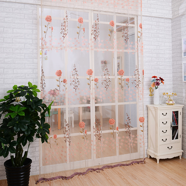 Hot Janela Cortina Sheer Painel Da Porta Beads Sheer Voile Floral - Ver-cortinas