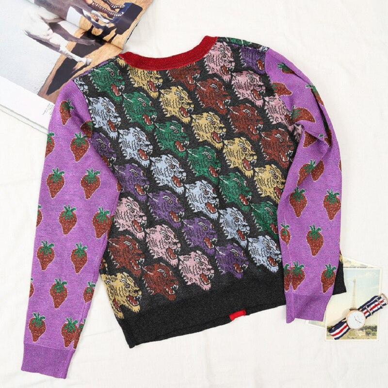 Femmes 2018 Violet Dames De Vêtements Chandail Manches Soie Knit Luxe Imprimer Piste Cardigans Tiger Jumper Designer Longues Automne Hiver 0Aqw0x1g