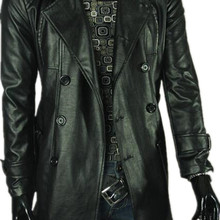 Mens Trench Leather Coats Green Classic PU Faux Leather Jacket Men Slim Fit Brit