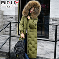 120 KG de Inverno Mulheres Down Jacket 2017 Moda Grande Capuz De Pele Verdadeira pato Para Baixo Casaco Parka Longa Feminina Soltos Mulheres Grávidas Roupas y757