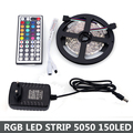 RGB LED Strip 5050 SMD 5M 150LEDS +12V 2A Power Adapter Supply +44Key IR Remote Mini Controller RGB LED Light Fita LED