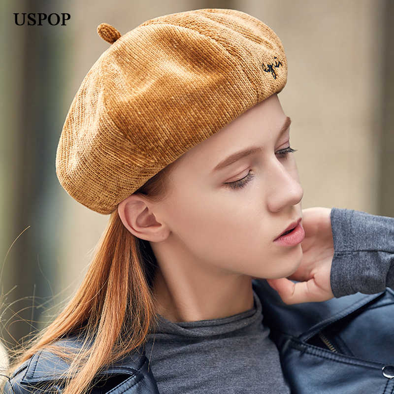 c11590c8ec3a2 Detail Feedback Questions about USPOP 2018 New women chenille berets letter  embroidery beret hat casual vintage octagonal hats female thick warm winter  hats ...