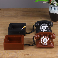 Retro Creative Telephone Model Ashtrays For Home Decor Resin Crafts Ashtray With Lid Smoking Accessories Household Merchandises