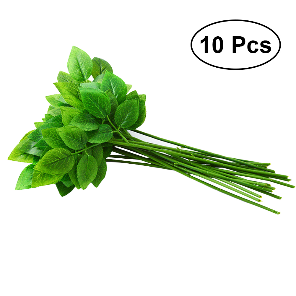 10pcs Floral Stem Wire With Leaves Craft Flower Wire DIY Handmade ...