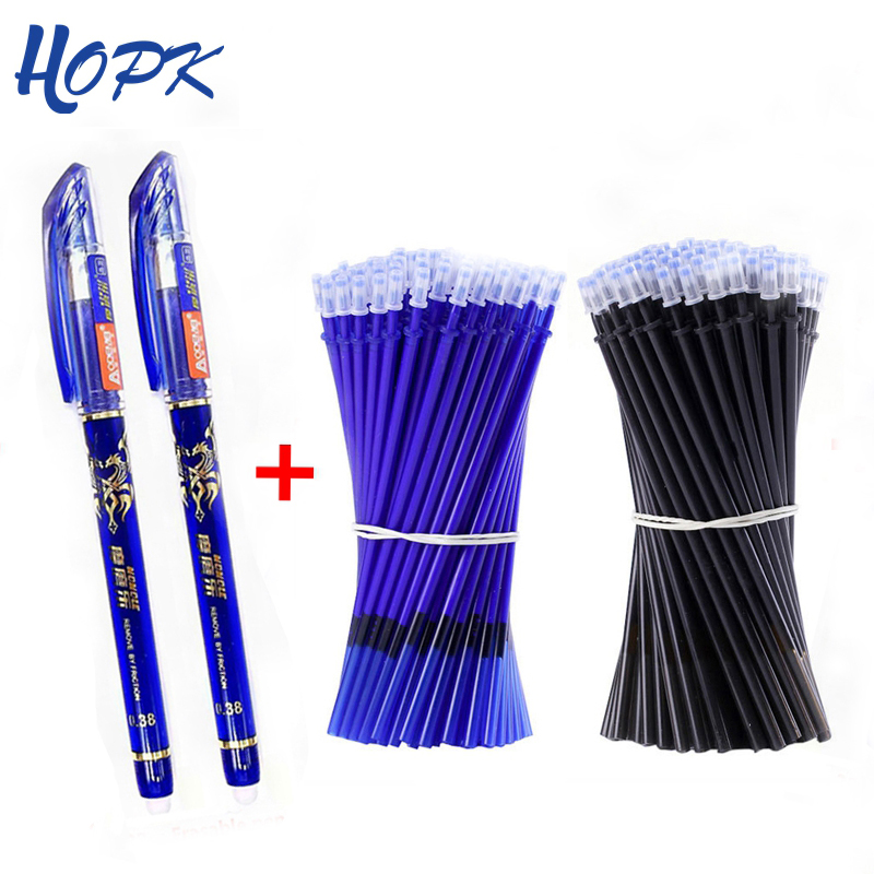 53Pcs/lot 0.38mm Erasable Washable Handle Pen Refill Rod Blue/Black/Ink Gel Pen School Office Writing Supplies Stationery Tool