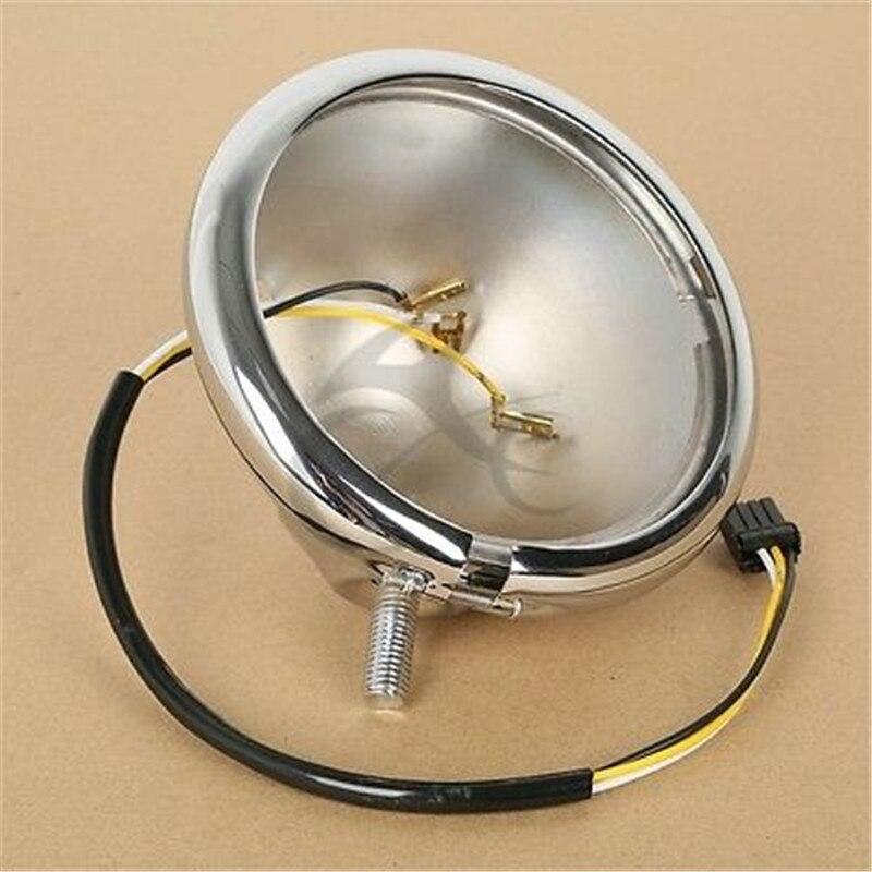 5 3/4 5.75 Headlight Chrome Black Housing Bucket For Harley FL FLHF FLH Bad Boy FXSTSB Motorcycle