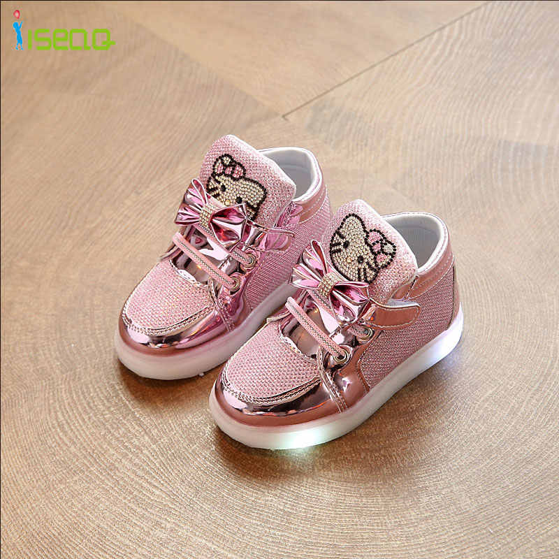 Kids girl luminous sneakers cheaper Shoes Spring Hello Kitty Rhinestone glowing Shoes for Girls Princes led sneaker children