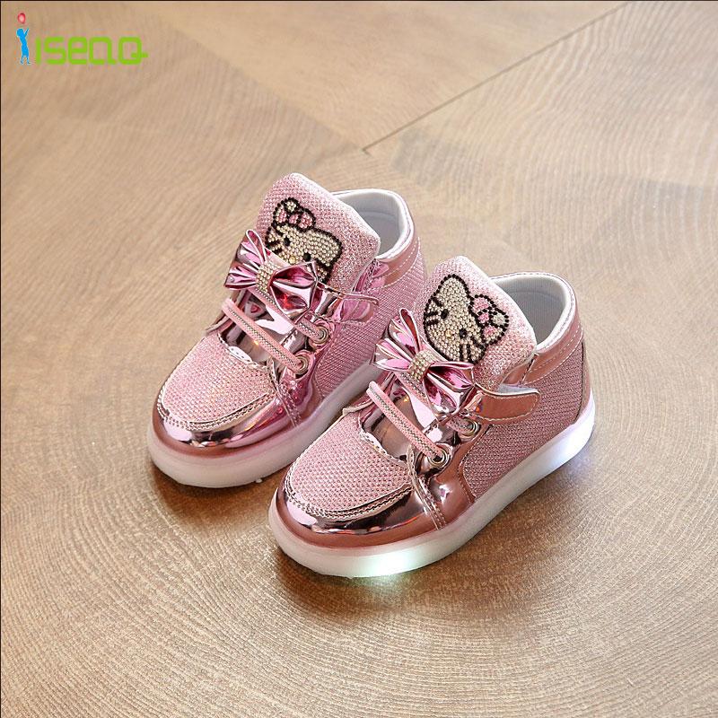 Anak-anak gadis sepatu bercahaya, Sepatu murah, Musim semi Hello Kitty berlian imitasi bersinar sepatu untuk anak perempuan, Pangeran dipimpin sneaker anak-anak