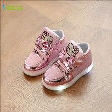 Kids girl luminous sneakers Shoes Spring Hello Kitty Rhinestone glowing for Girls Princes led sneaker children  EU 21-30