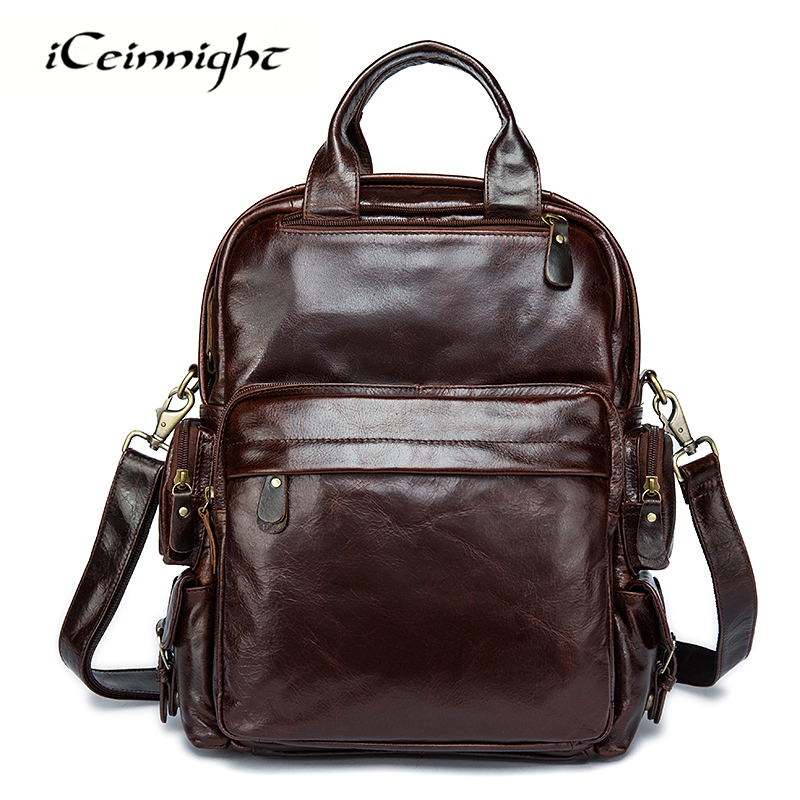 iCeinnight Brand Genuine Leather Men Backpack Real Cowhide School Bag for Teenagers Business Laptop Travel Bags mochila Rucksack