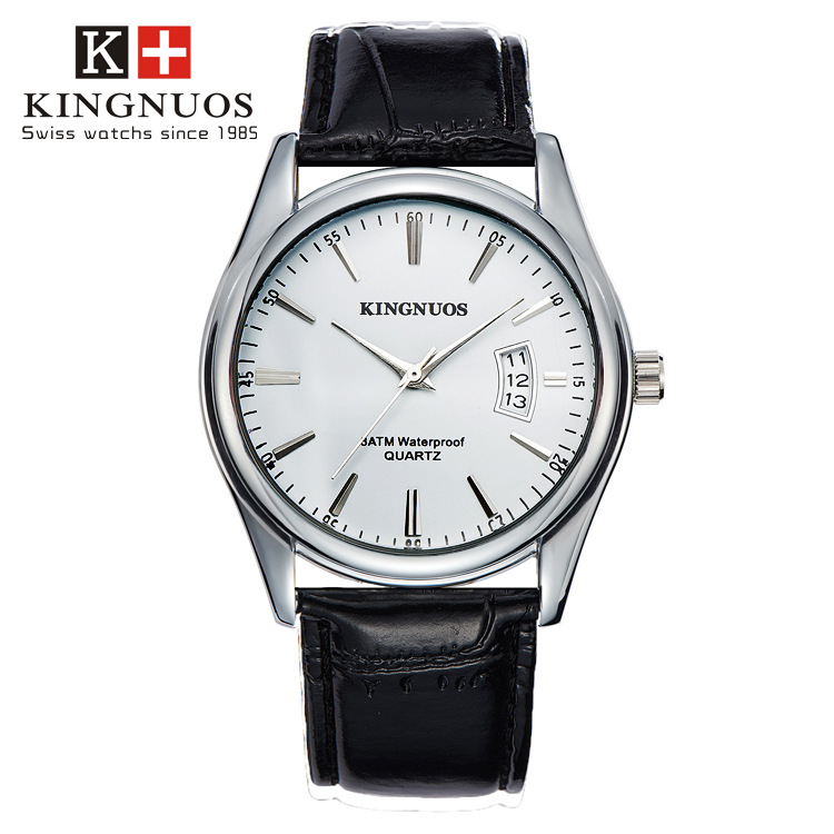 KINGNUOS 2019 Famous Brand Silver Watches Men Leather Casual Analog Date Day Waterproof Sports Business Quartz Wrist Watch Gifts