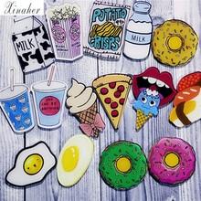 1 шт мультфильм пицца напитки молоко яичная Брошь Акриловые Значки на рюкзак булавка, бейдж, украшение значки на одежду