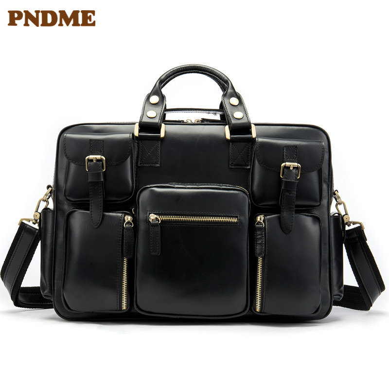 Leather Men's Bag European And American Retro Large Capacity Hand Bag Men's Multi Functional Travel Bag