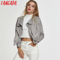 Tangada Winter gray faux leather jacket coat Motorcycle zipper blue red leather jacket women Fashion cool outerwear 2017 LF