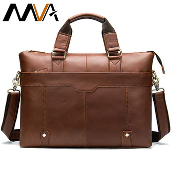 MVA Messenger Bag Men's Shoulder Bags Leather Laptop Bag 14inch Genuine Leather men's bags for document work handbags tote 7108