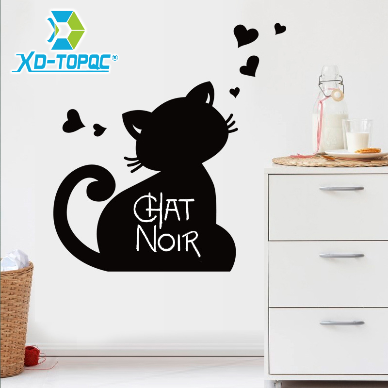 Cute PVC Removable Blackboard Bulletin Message Black Board Stickers Cartoon Lovely Chalkboard Cat Patternl Sticker Free Shipping