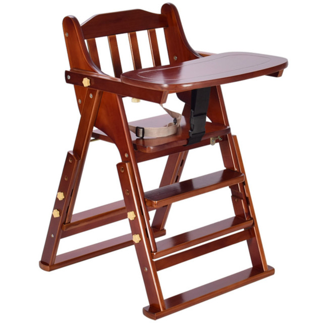 Portable Solid Wood Child Seat Multi Function Folding Adjustable Baby High  Chair With Plate Feeding