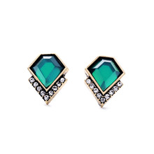 Green Gem Stud Earrings Accessories