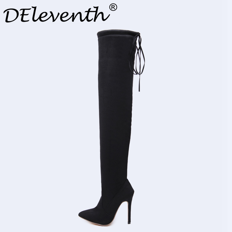 Women Faux Suede Thigh High Boots Fashion Over the Knee Boot Stretch Flock Sexy Overknee Stiletto High Heels Woman Shoes Black enmayla stiletto heels over the knee boots women high heels platform thigh high long boots shoes woman black white brown size 46
