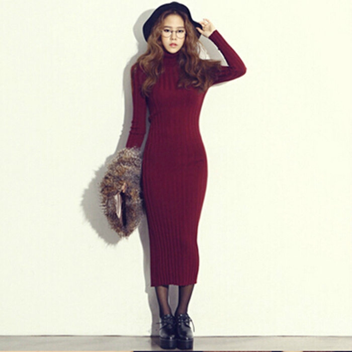f8a175ddc73a Women Split Design Sweater Casual Turtle Neck Long Sleeve Slim OL Lady Bodycon  Knit Dress Long Warm Sweater Women H5475