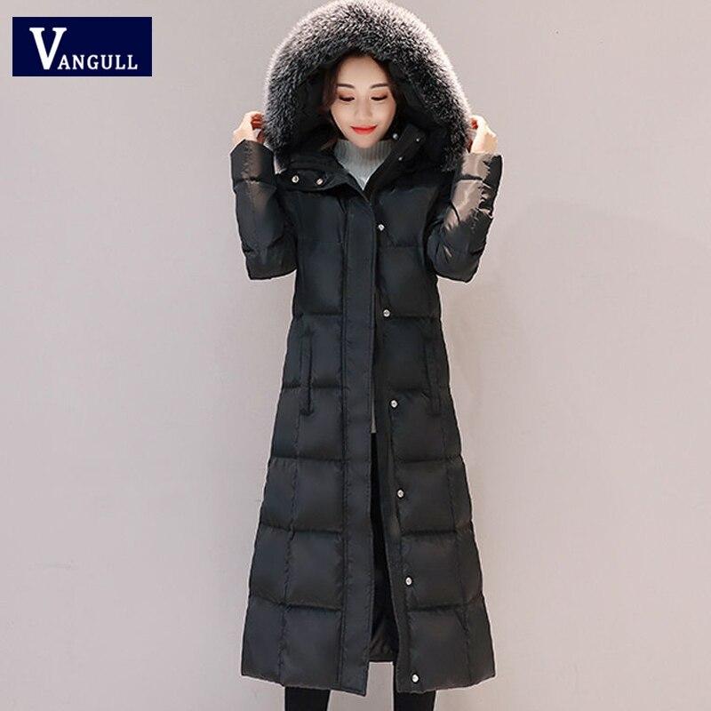 VANGULL Warm Winter Solid Women   Parkas   2019 New Long Female Causal Jacket Coat Hooded Zipper Thick Coats Fur Collar Outerwears