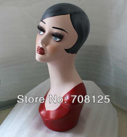 Rouge Tissu En Fiber De Verre Tête de Mannequin Pour Perruque Et Chapeau Affichage