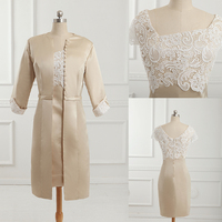 New 2015 High Quality With Jacket Square Neck Two Piece Mother Of The Bride Dress Arriral