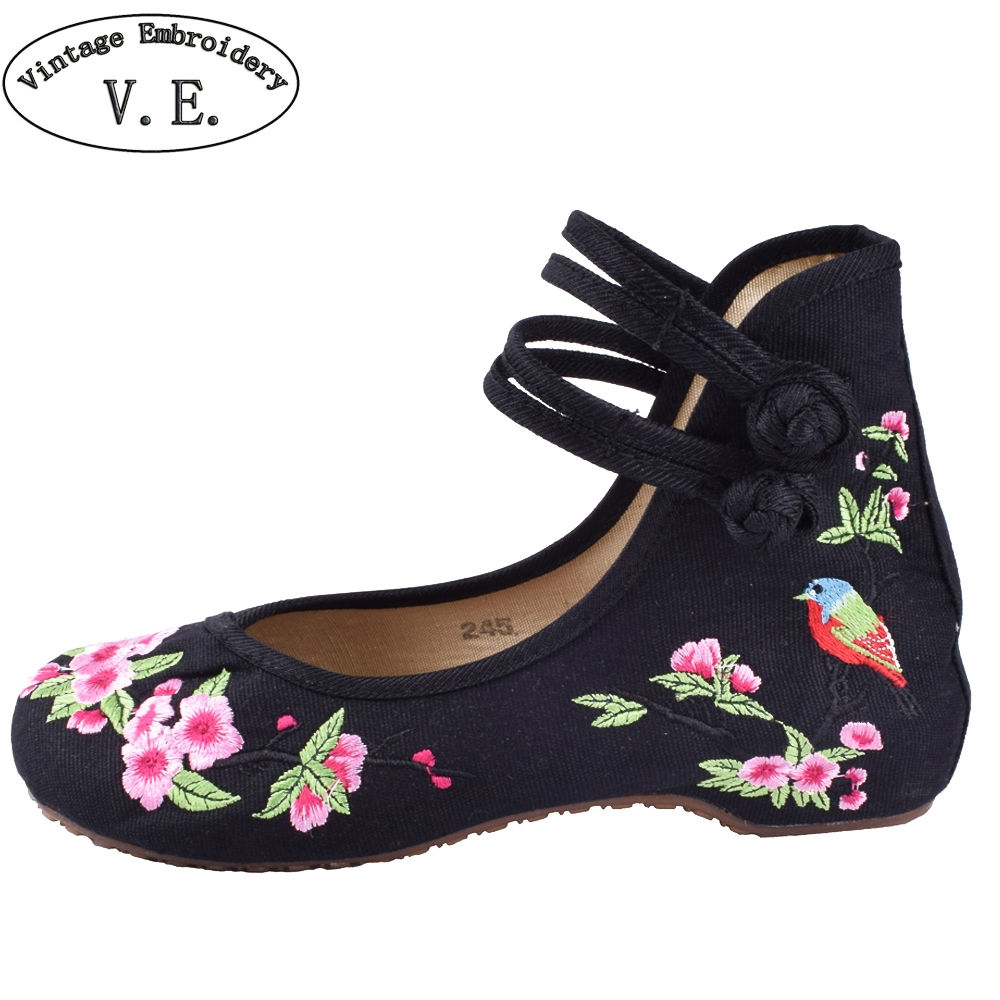 Women Casual Shoes Old BeiJing Embroidery Canvs Shoes Casual Floral Ladies Shoe New Women Flats Dance Single Shoes weowalk 5 colors chinese dragon embroidery women s old beijing shoes ladies casual cotton driving ballets flats big size 34 41