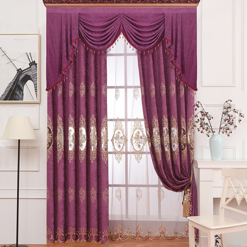 Embroidered Chenille Curtains For Bedroom Shade Purple