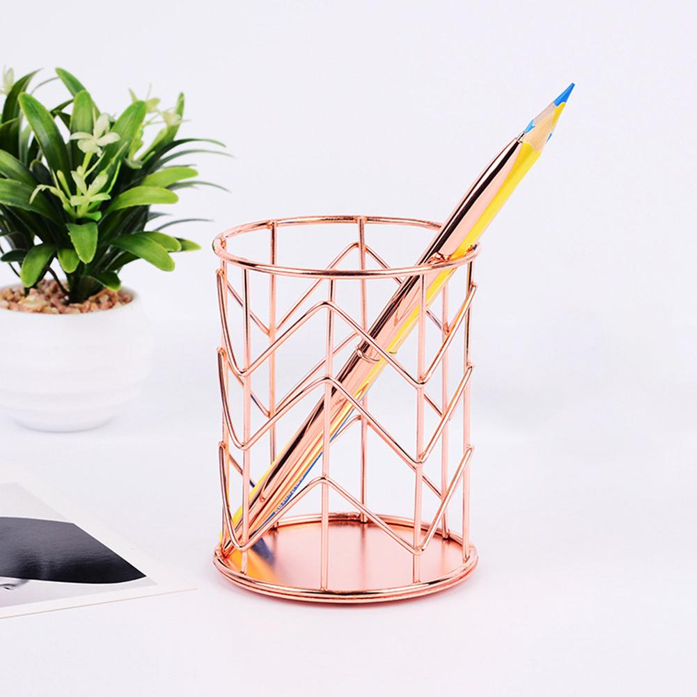 Rose Gold Wire Net Pencil Holder Round Iron Mesh Pen Cup Stationery Organizer Desk Sorter For Office Home School Ornaments Bottles, Jars & Boxes