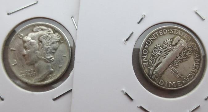 90% Silver Mercury Head Dimes 1927   Dates Nice Quality Coins Retail Whole Sale