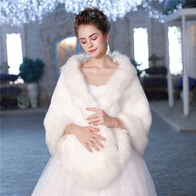 New Faux Fur Wrap Warm Large Shawl Winter Wedding Cover Up Stole Bridal Accessories Fashion Women