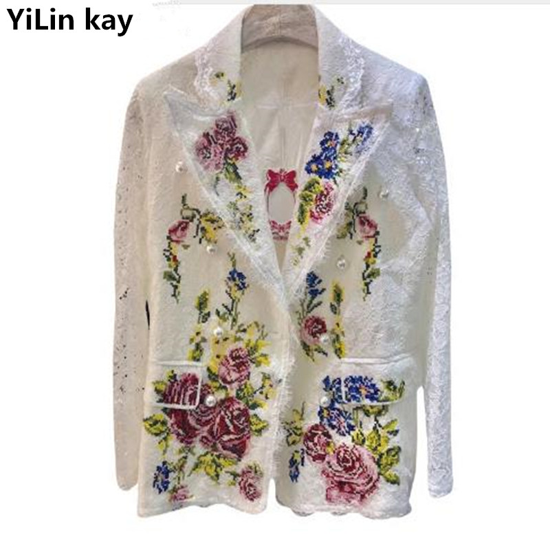 a4463584624 YiLin kay Luxruy Women Lace White Coat 2018 autumn Embroidery Floral Pearl  Long Sleeve Pocket Coat