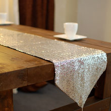 European sequin silver Table Runner Table Cloth wedding restaurant Cafe Home Decoration cover 33*200cm 1pcs price Free Shipping(China)
