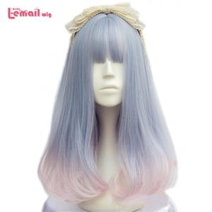Image 1 - L email wig pour femmes, perruque synthétique de 40cm/15.74 pouces, perruques de Cosplay à couleurs mélangées résistantes à la chaleur, pour femmes