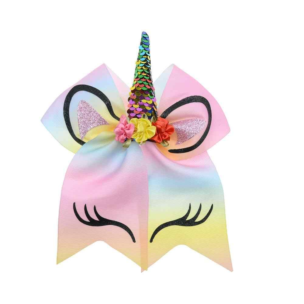 1 pc unicórnio flor pringting 7 large large grande fita arco laços de cabelo para meninas pôneis elásticos acessórios titular do cabelo