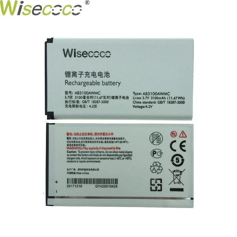 WISECOCO In Stock New 3100mAh AB3100AWMT Battery For <font><b>PHILIPS</b></font> Xenium <font><b>E560</b></font> CTE560 Smartphone/Smart Mobile phone +Tracking Number image