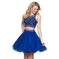 Two Piece Prom Dresses 2020 Short Graduation Gown Vestido De Formatura Cortos Puffy Tulle Blue Cocktail Party Dress Elegant