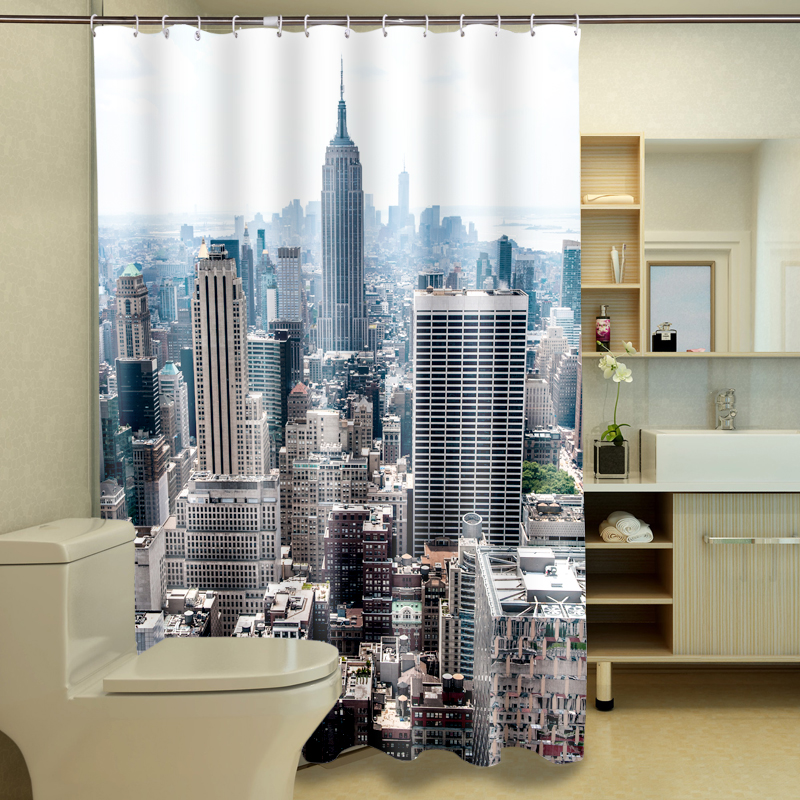 Customize 180*180 Shower Curtains Exotic Architecture 3D Pattern ...